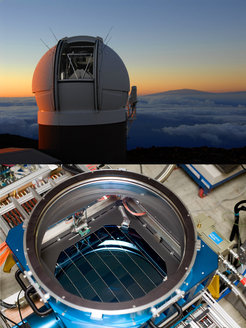 Top: The Pan-STARRS1 telescope at dawn with Mauna Kea in the background. Bottom: The gigapixel camera GPC1 undergoing final assembly in Manoa, June 2007. The circular aperture above the focal plane holds the third lens of the telescope corrector.
