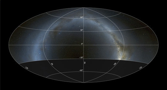 Sky coverage of the Pan-STARRS1 survey in a <span>Hammer-Aitoff projection with equatorial coordinates. The survey covers 3/4 of the entire sky down to a declination of −30°, including a large fraction of the plane of the Milky Way.</span>