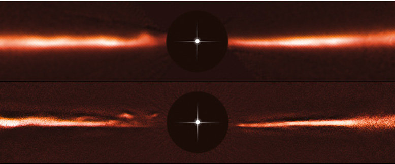 Science Highlight 7/2015: Unusual moving structures in dust disk around star