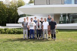 Apprentices in the MPIA precision mechanics workshop 2015 <br /><br />1st year: Larissa Stadter and Leon Schädel<br />2nd year: Francisco Ortiz<br />3rd year: Lukas Reichert and Christoph Schwind<br />4th year: Felix Sennhenn and Matthias Schend<br /><br />with their supervisors, Stefan Meister <br />and his deputy, Tobias Stadler.