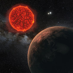 Artist's impression of the newly discovered planet orbiting Proxima Centauri, the star that is nearest to Earth.