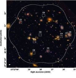 Figure 2: Hubble Ultra Deep Field, with the locations of the ten galaxies detected in the millimeter regime marked. (One of the locations, C2 contains two galaxies directly behind each other.)