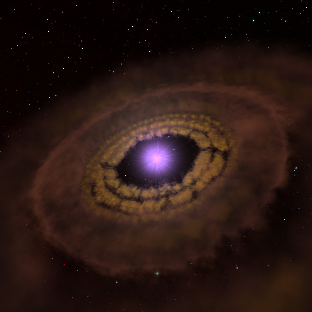 Artistic impression of the gas and dust disk around the young star TW Hydrae. Such disks are where planets are born