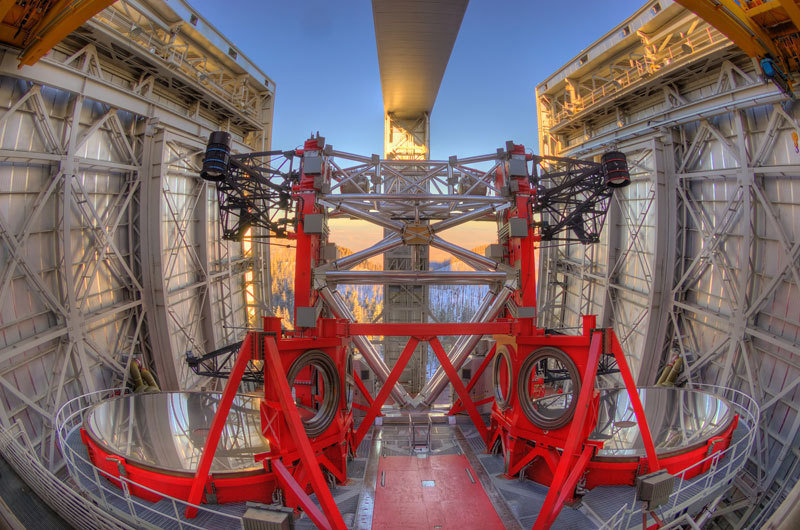 The Large Binocular Telescope (LBT) in Arizona with two 8.4 meter mirrors