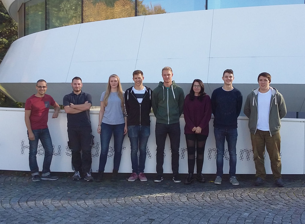 Apprentices in the MPIA precision mechanics workshop 2016:<br /><br />1st year: Linda Biermann und Sascha Fänderich<br />2nd year: Leon Schädel und Philipp Wilhelm<br />3rd year: Larissa Stadter<br />4th year: Francisco Ortiz<br /><br />with their supervisors, Stefan Meister <br />and his deputy, Tobias Stadler.