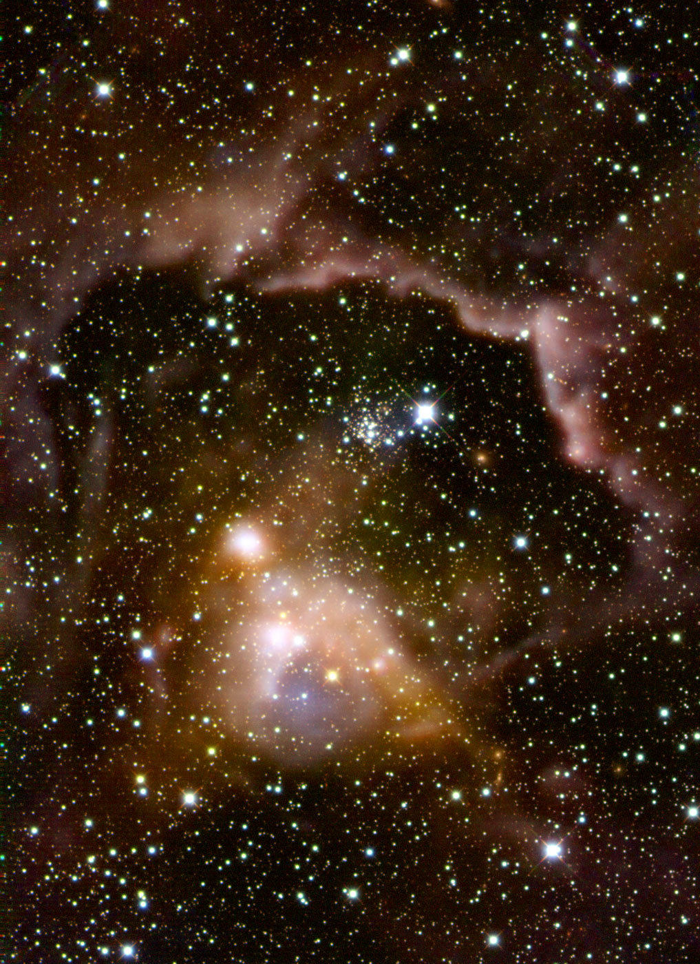 Herschel far-infrared image of the high-mass star-forming region ISOSS 22164+6003