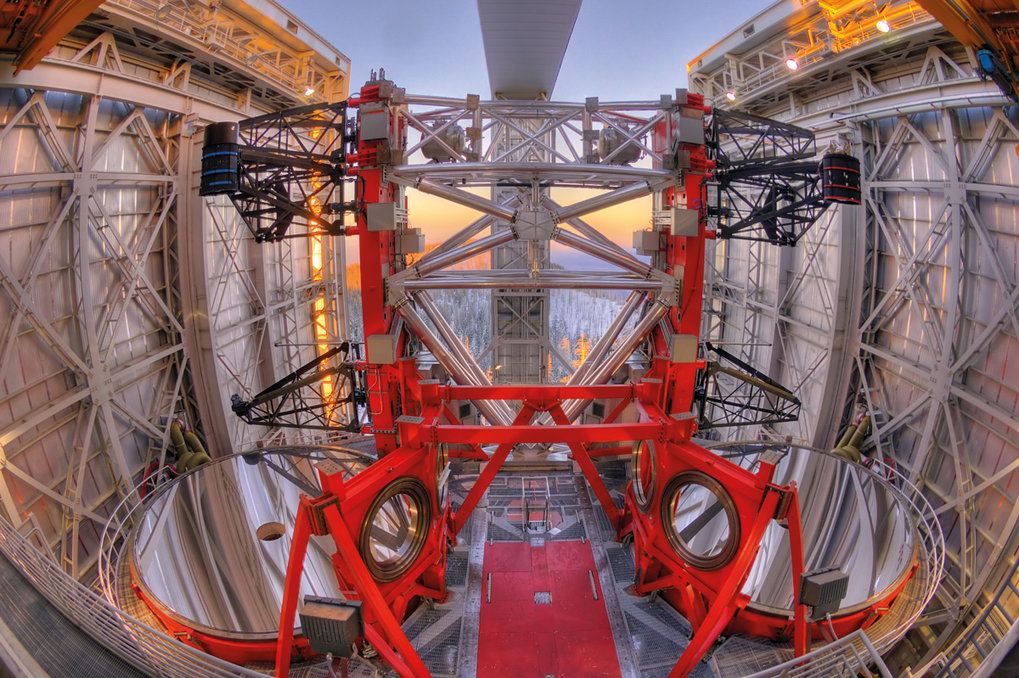 View of the Large Binocular Telescope with its two 8.4 m mirrors.