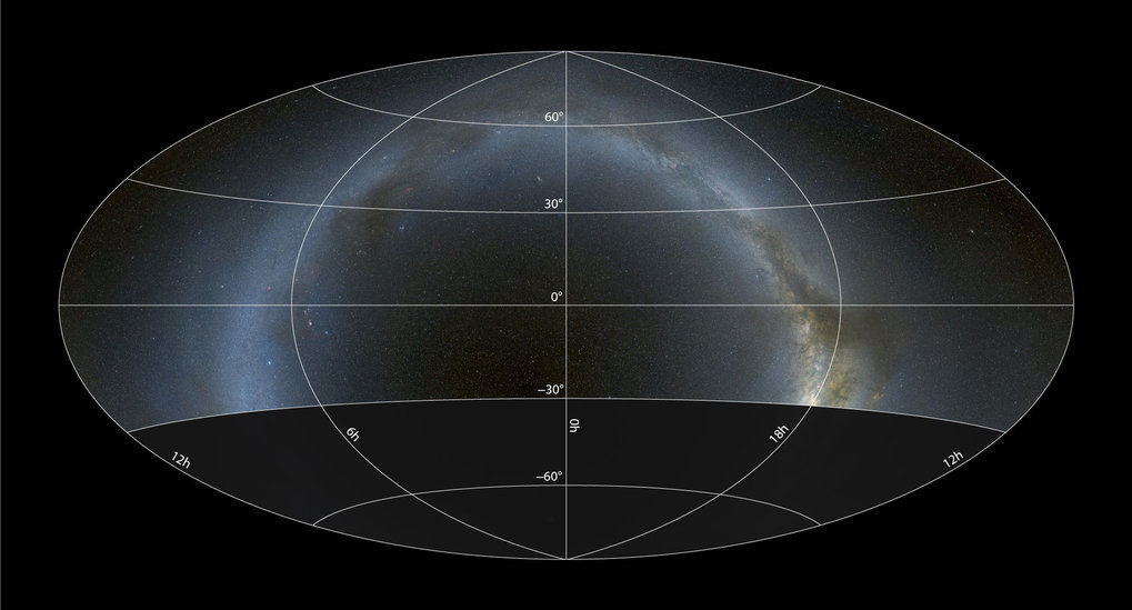 Sky coverage of the Pan-STARRS1 survey in a Hammer-Aitoff projection with equatorial coordinates. The survey covers 3/4 of the entire sky down to a declination of −30°, including a large fraction of the plane of the Milky Way.