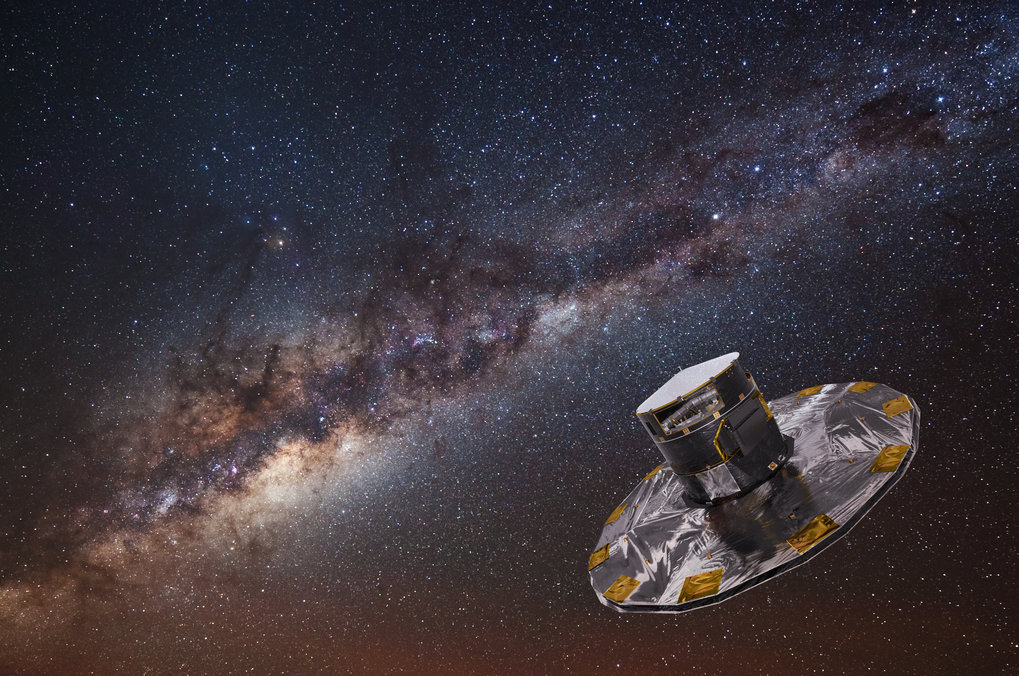 An artist's impression of the Gaia spacecraft, with the Milky Way in the background.