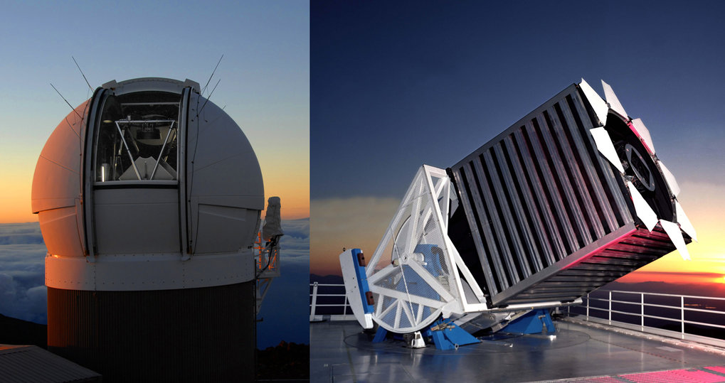 Two survey telescopes: Pan-STARRS1 on the left and and the Sloan Foundation Telescope on the right.