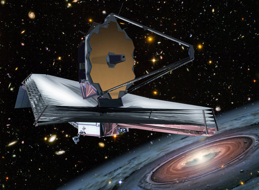 Figure 1: The James Webb Space Telescope, whose primary mirror has a diameter of 6.5 meters, will be launched in 2018. It is the designated successor of the Hubble Space Telescope.