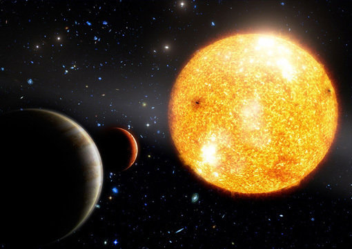 Figure 1: Artist's impression of HIP 11952 and its two Jupiter-like planets.