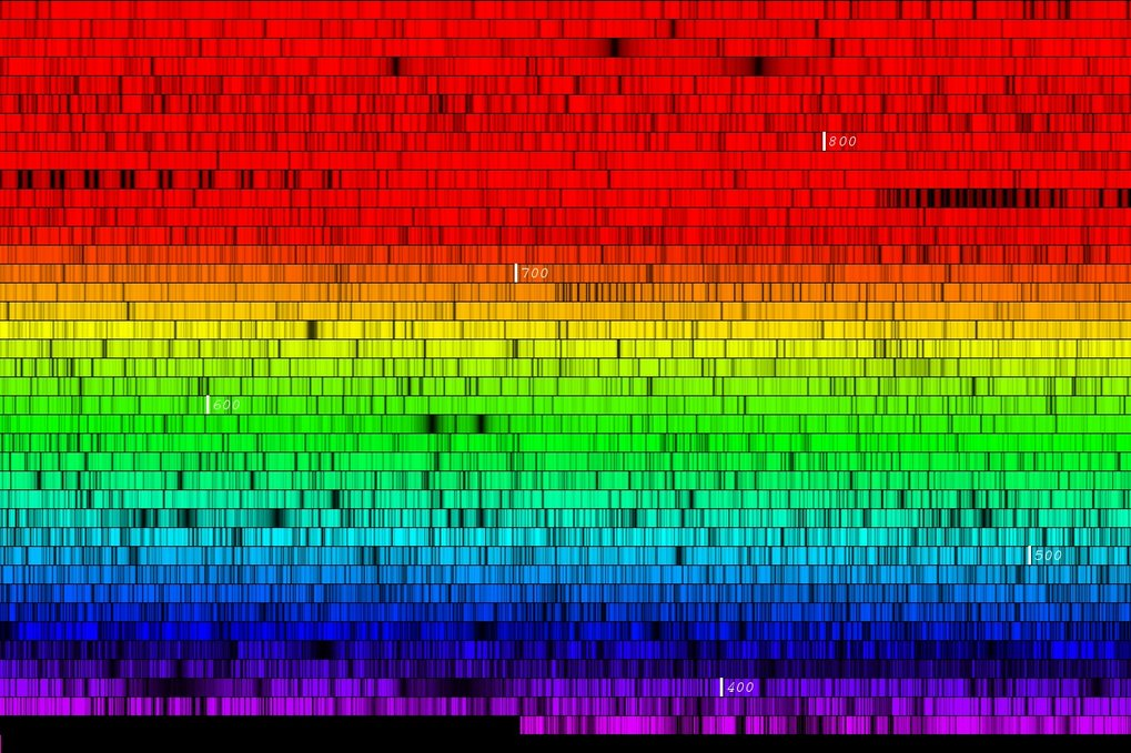 Stellar spectra - rainbow-like decompositions of starlight, here of the star Mu Leonis - play a key role in the films.