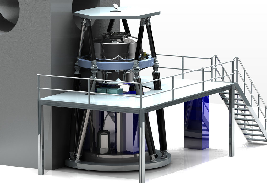 The MICADO instrument will be developed and built by a consortium of European institutes in collaboration with ESO. MICADO will be the first dedicated imaging camera for the giant new telescope E-ELT and will take the power of adaptive optics to the next level. This picture shows how the instrument will look when installed on the telescope.
