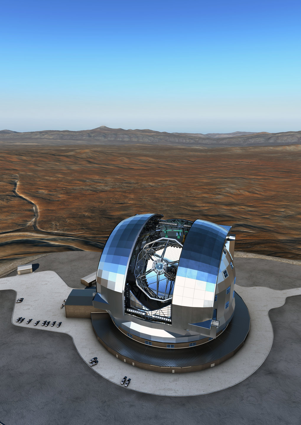 An artist's rendering of the European Extremely Large Telescope (E-ELT) in the Chilean Atacama Desert. Construction started in 2014 and first light is targeted for 2024.