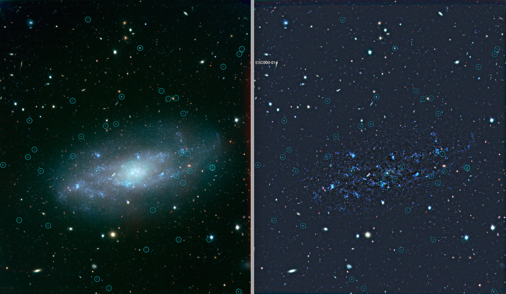 A dIrr galaxy, observed with ESO VLT/VIMOS B,V,I imaging, is shown to the far left and with the background galaxy light subtracted to the right of it.