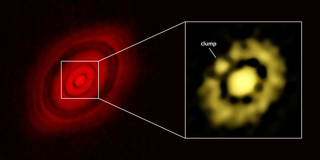 Dust disk around HL Tauri, left: ALMA observations from 2015 that show a disk structure with bright rings separated by gaps. Right: New VLA observations of the innermost region of the disk. The clearly visible lump is likely to be a planetary embryo, which is bound to become a fully fledged planet over the next millions of years.