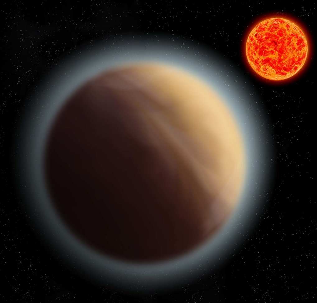 Artist's impression of the exoplanet GJ 1132 b, which orbits the red dwarf star GJ 1132. Astronomers have managed to detect the atmosphere of this Earth-like planet.
