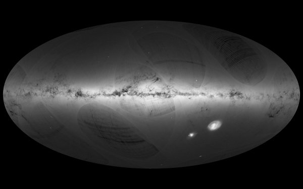 Gaia's first sky map. Credit: ESA/Gaia/DPAC. Acknowledgement: A. Moitinho & M. Barros (CENTRA – University of Lisbon), on behalf of DPAC.