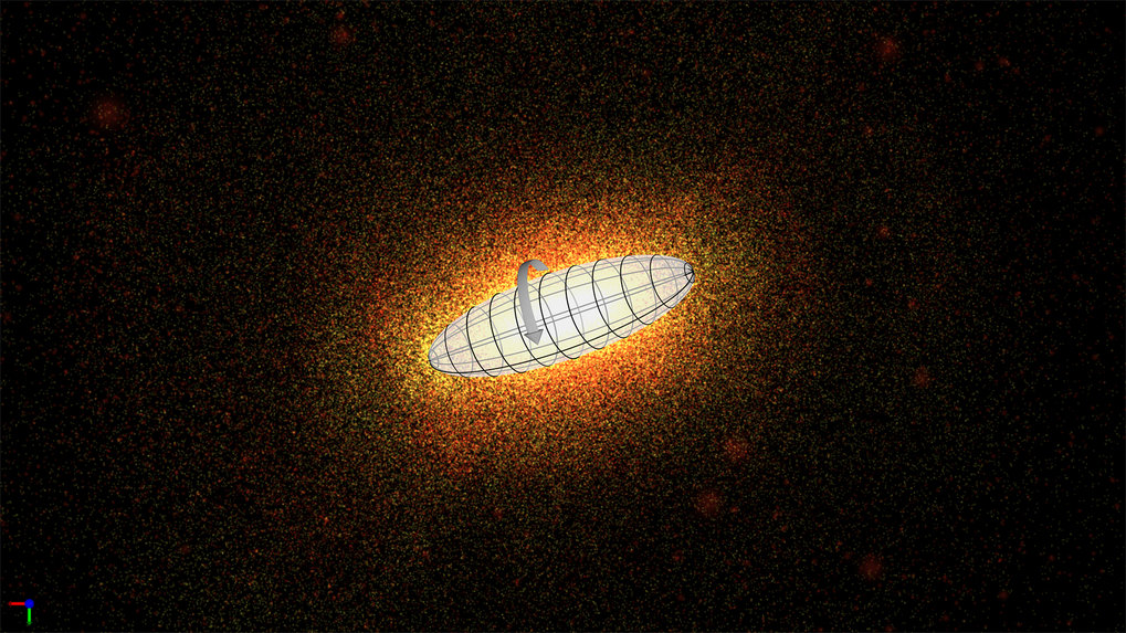 An elliptical galaxy in prolate rotation. The galaxy resembles the shape of a cigar, with its stars rotating around the galaxy's long axis, similar to a spindle. the background image is a snapshot of a simulation by A. Tsatsi and colleagues.