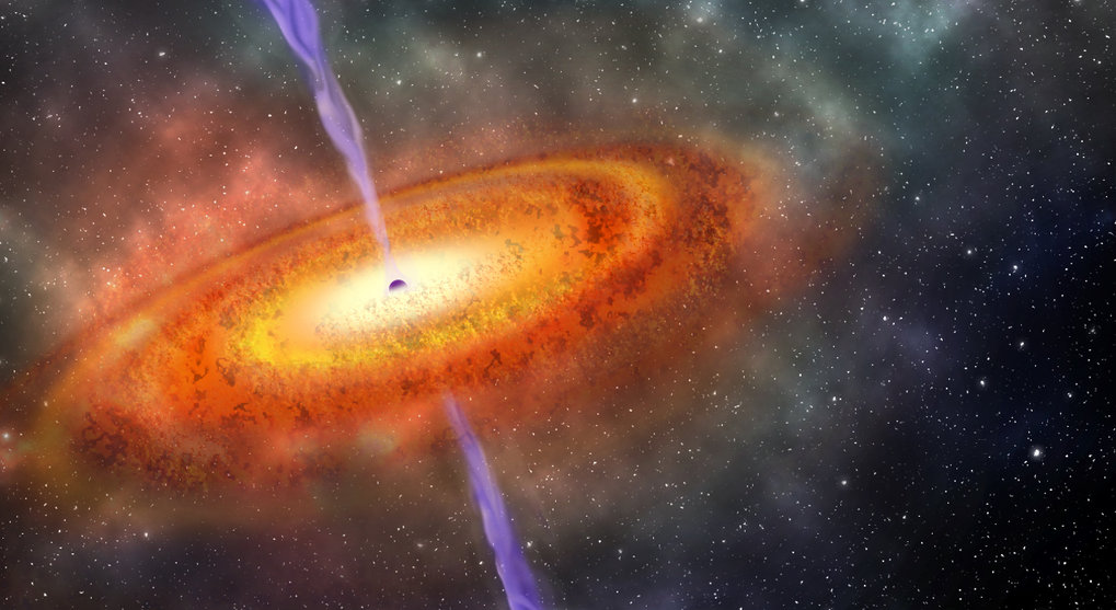 Artist's impression of a quasar: a supermassive black hole, surrounded by an accretion disk of material. Astronomers have found the most distant quasar yet known, and used it to obtain key information about the early universe.