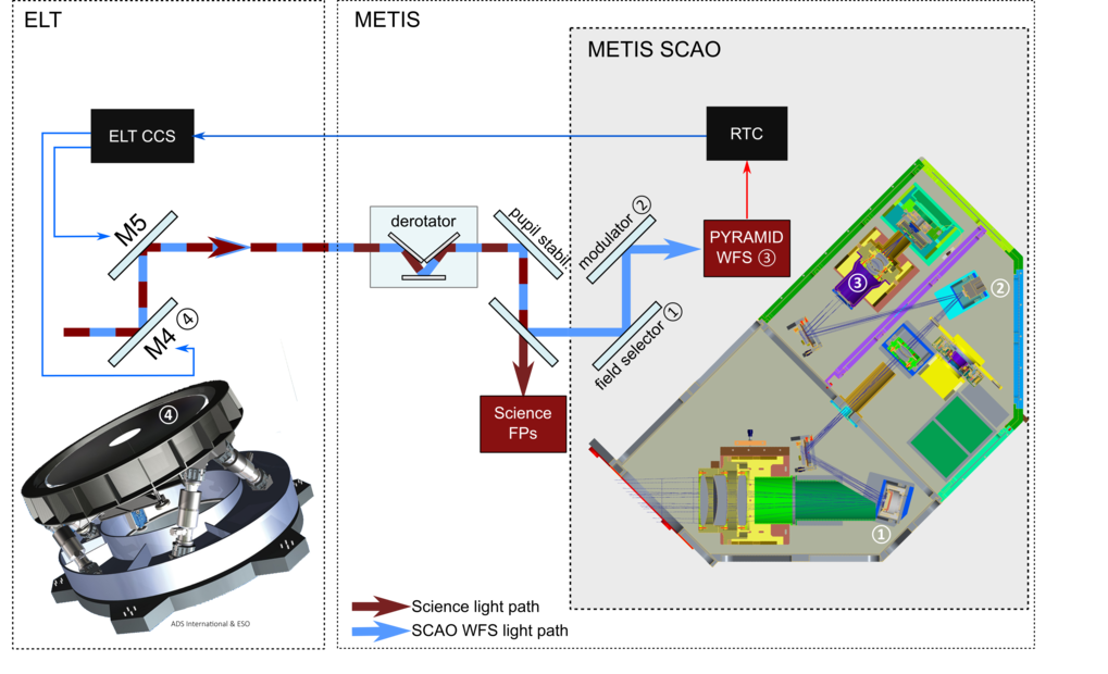 Scheme for the METIS wavefront control using the ELT deformable mirror.