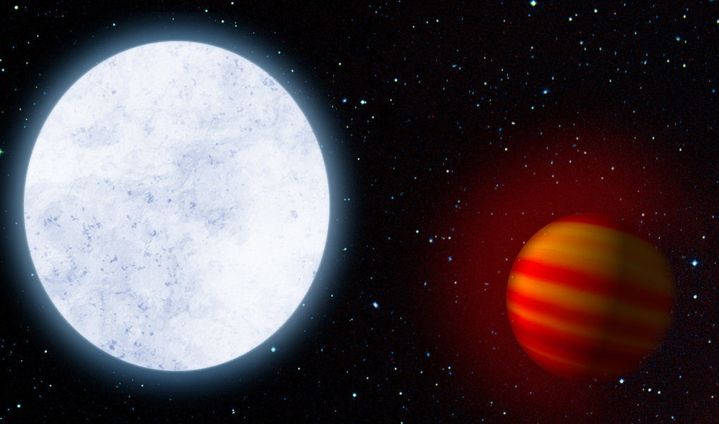 "Artist's impression of the hot star KELT-9 and its planet KELT-9b, a hot Jupiter. Researchers have now detected the extended hydrogen atmosphere of the planet, which is ""boiling off"" due to the central star's great heat."