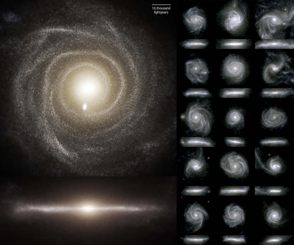 Images of disk galaxies from the TNG50 simulation in visible light. For each galaxy, there is a face-on view (top) and an edge-on view. TNG50 has thrown new light on how disk galaxies like this form