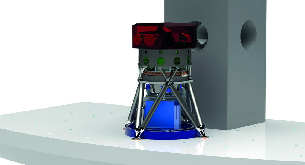 Illustration of MICADO on the E-ELT Nasmyth platform. Inside a fixed structure, the cryostat and wavefront sensors will be rotated by the MPIA built derotator to the extreme precision of 2 arcseconds. The light of the telescope enters the cryostat from above.