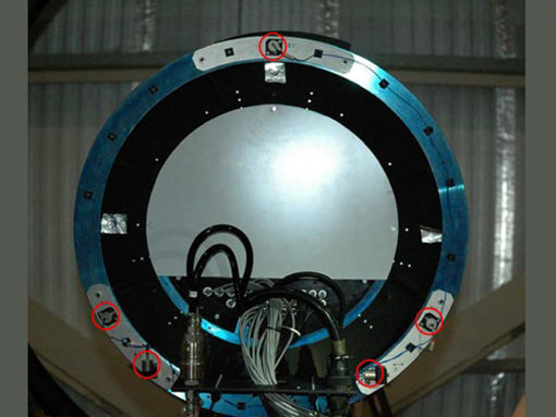 Five vibration sensors on the mount structure of one of the two adaptive secondary mirrors of the LBT.