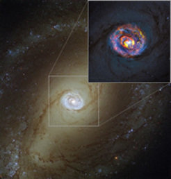 The main image, showing the nearby active galaxy NGC 1433, comes from the NASA/ESA Hubble Space Telescope. The coloured structures near the centre shown in the insert are from recent ALMA observations that have revealed a spiral shape, as well as an unexpected outflow, for the first time.