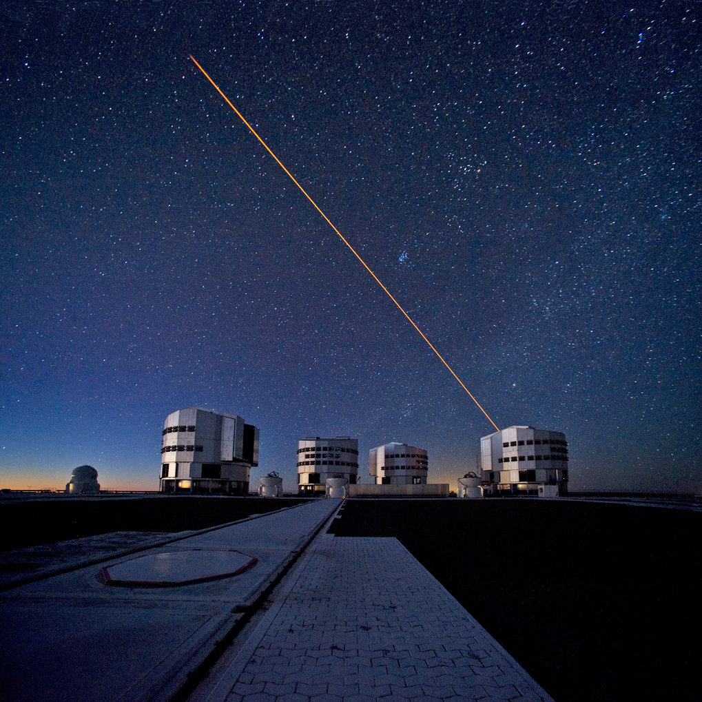 The four 8-m telescopes and four auxiliary telescopes at ESO's Paranal observatory in Chile. In planning for the future, astronomers will need to take into account the adverse effects of the climate crisis on their observations.