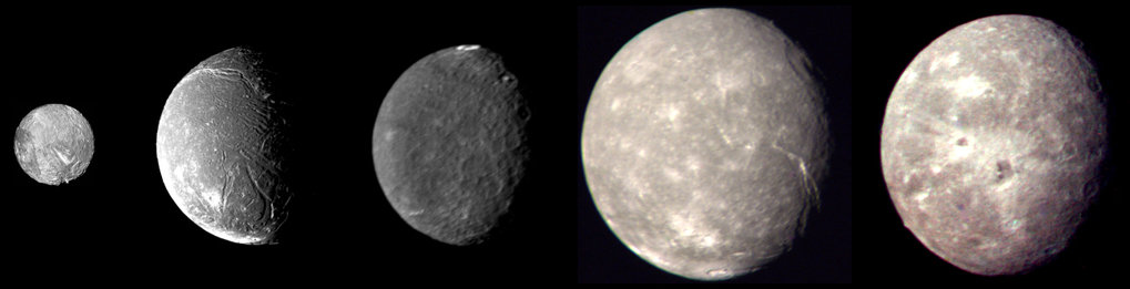 Images of the five largest Uranian moons Miranda, Ariel, Umbriel, Titania and Oberon. The space probe Voyager 2 took these images during a fly-by on 24 January 1986. The diameters of the moons are shown to scale.