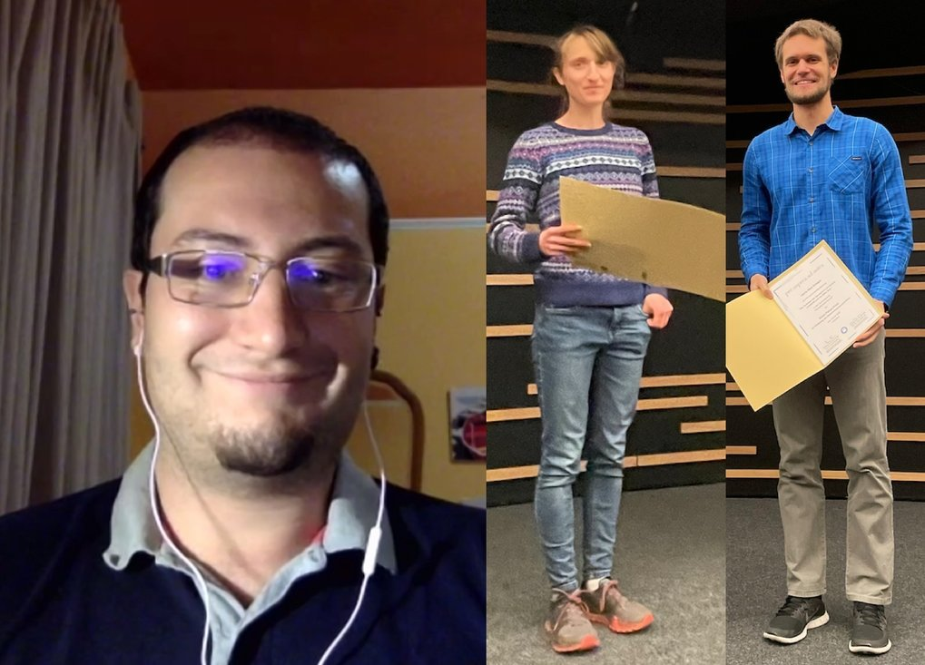 Due to the Corona pandemic, this year's award ceremony and the associated lectures were largely video-based and without an audience. Neige Franke (center) and Nico Krieger (right) were able to receive the award at MPIA, Alessandro Savino (left) was connected via video.