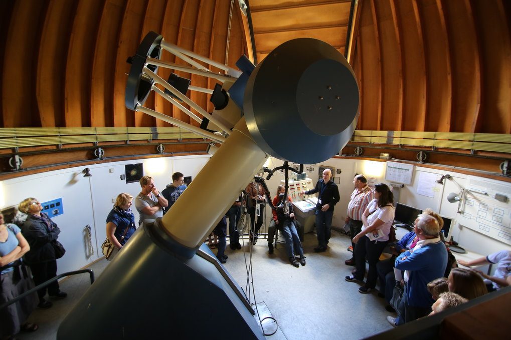 Today's research telescopes are situated far away from populated areas, at sites with optimal observing conditions. Some smaller telescopes will be on view for the Open Day, though.