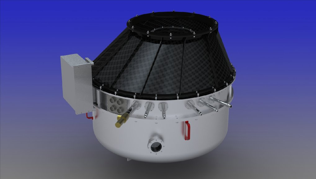 Photorealistic rendering (computer model) of the near-infrared camera PANIC for the 2.2m telescope on Calar Alto, Spain.  The camera is attached to the telescope through an adapter made from carbon-fiber reinforced plastic.