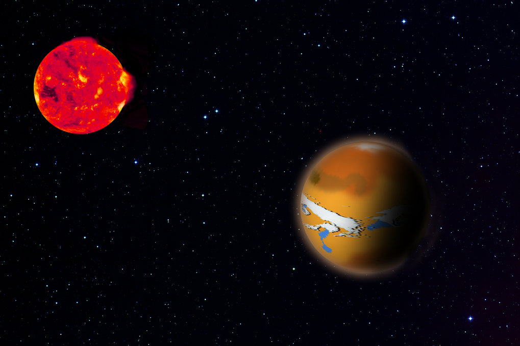 Artist's impression of TRAPPIST 1d (right) and its host star TRAPPIST 1 (left). New research shows how planets like this could hide traces of life from astronomers's observations.
