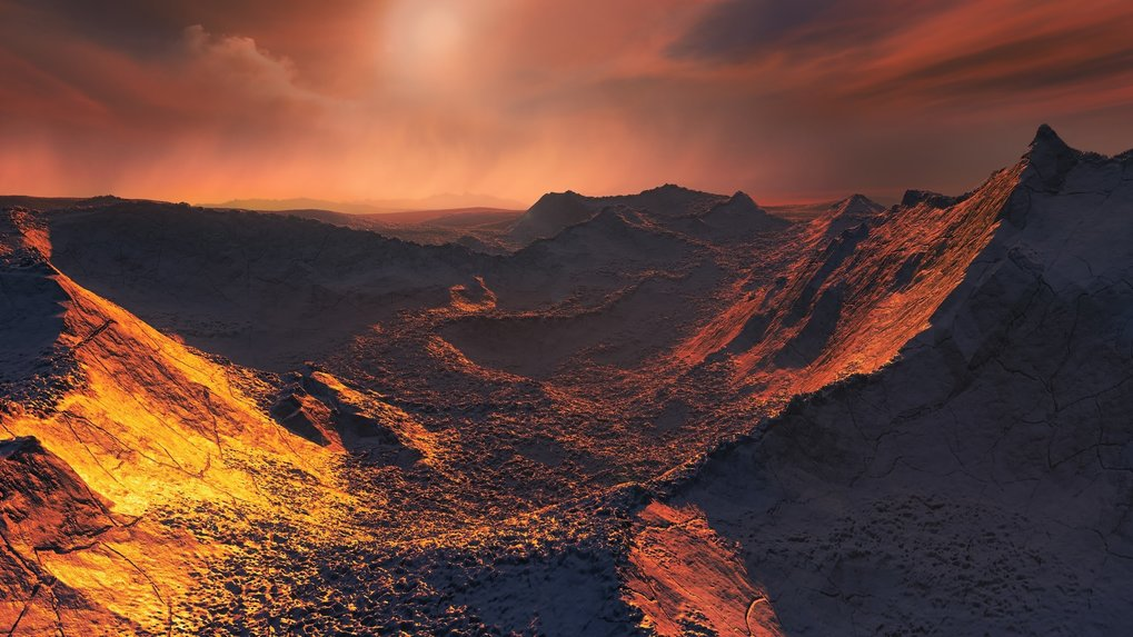 "Artist's impression of the surface on the planet ""Barnard's Star b""."