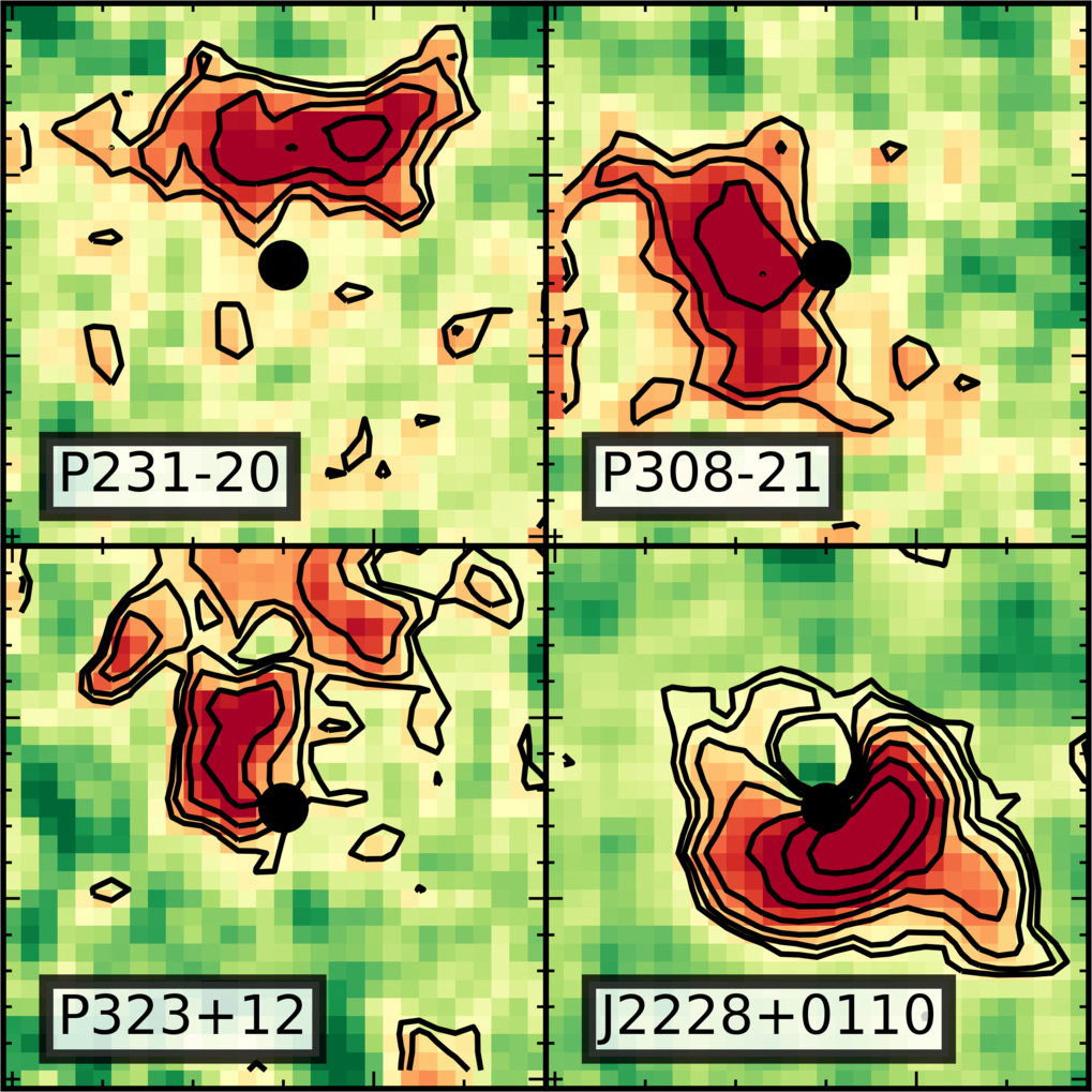 "Reconstructed images showing the diversity of the distribution of hydrogen gas (black contours and red colors) near four high-redshift quasars and their host galaxies. The contributions of the bright quasars marked by black dots have been removed. The field of view of these images is 6"" x 6"" (1"" = 1 arc second), which corresponds to a physical size of about 100,000 light years."