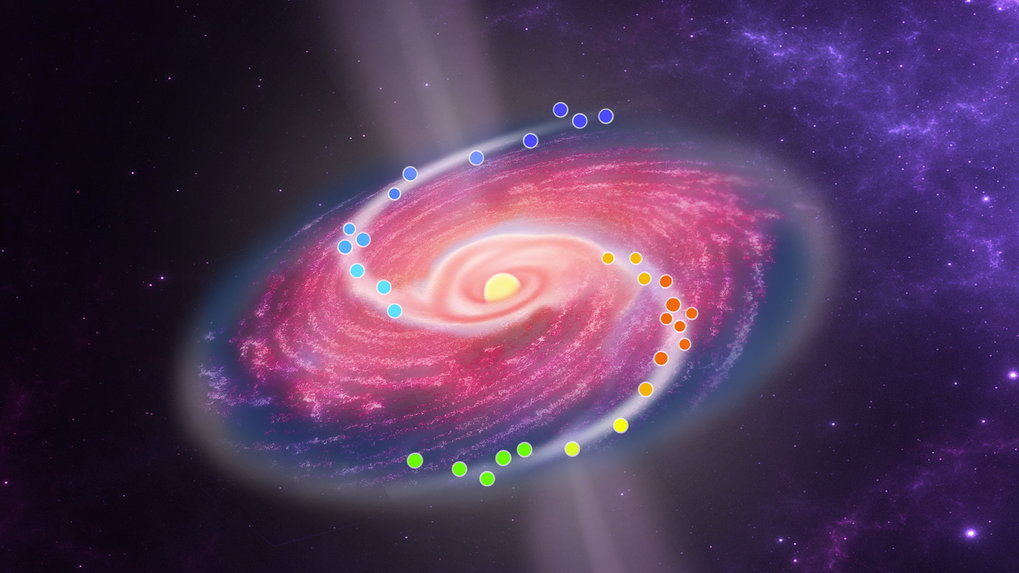 Artistic impression of the immediate vicinity of the massive protostar G358-MM1. The disk that surrounds it has formed a spiral structure that is visible through characteristic emissions of masers. This structure suggests a massive disk of gas and dust, which becomes unstable under its own gravity and partly disintegrates into compact packets that feed the protostar in bites.