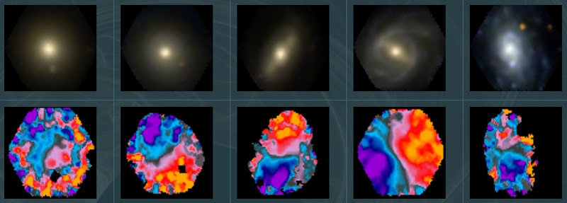Figure 1: CALIFA data example: Top row: Poststamp images of five galaxies. Bottom row: Colour coded gas velocity maps of the same galaxies based on CALIFA IFS data.